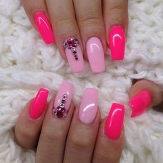 pink nail art