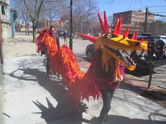 Giant dragon puppets cast beautiful shadows. Brookline, April 2013