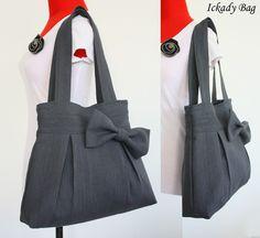 Christmas SALE - 10% off Green Canvas Bag / Tote / Handbag / Shoulder Bag / Bow Purse / Weddings gift. $32.00, via Etsy.
