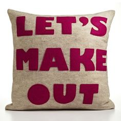 "Amazon.com: ""Let's Make Out"" Decorative Pillow Material: Oatmeal & Fuchsia Felt, Size: 22"" W x 22"" D: Home & Kitchen"