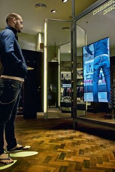 "Digital interactive mirrors with fitting room simulation. Future of retail? Diesel is starting to develop some ""magic mirrors"" and for now they installed them in 3 stores, NY, Milan and Madrid. Interactive Mirror, Interactive Media, Interactive Design, Retail Experience, Customer Experience, Digital Retail, Retail Technology, Retail Concepts, Digital Signage"