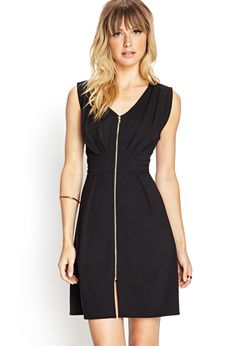 Forever 21 Zip-Front Knit Dress in Black | Lyst