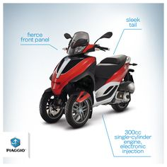 Elegance wears red.  www.piaggiomp3.com  #piaggio #MP3piaggio