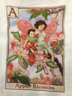 Apple Blossom flower fairy.  Hand embroidery, stump work, threads and silk ribbon. Di Van Niekerk flower fairy design