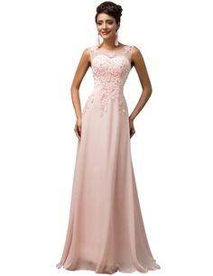 Amazon.com: GRACE KARIN Chiffon V Back Evening Dresses Long Prom Gown With Beads Appliques: Clothing