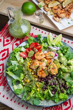 Chipotle Lime Grilled Shrimp Salad in Cilantro Lime Dressing. I would put chicken instead of shrimp.