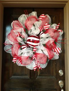 Large candy cane decoration - Your Beautiful Mesh Wreaths!