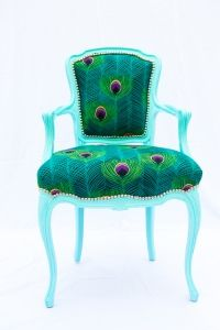 Pretty!!! TOBY    Price: $725.00         Ask a question about this product     --------------------------------------------------------------------------------  Vintage french style side chair, upholstered in a peacock embroidered cotton with a high gloss frame. ($725)
