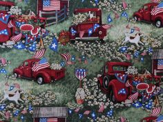 Susan Winget Fabric, Patriotic Americana Fabric, By The Yard, Patriotic Picnic Collection, Fourth of July, Quilting Sewing Fabric, Red Truck by NeedlesnPinsStichery on Etsy