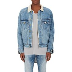 FEAR OF GOD Men's Corduroy Collar Denim Trucker Jacket (€1.515) ❤ liked on Polyvore featuring men's fashion, men's clothing, men's outerwear, men's jackets, blue, mens denim jacket, mens jackets, mens trucker jacket, mens blue jacket and mens short sleeve jacket
