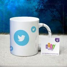 Twitter Logolu Seramik Kupa Baskı Mugs, Twitter, Tableware, Shopping, Dinnerware, Tumblers, Dishes, Mug, Cups