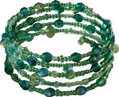 This stylish bracelet is made with faceted emerald Czech glass beads and premium seed beads in green tones on a 5-loop silver-plated wire.