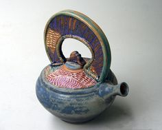 High fire stoneware Functional Teapot. Microwave and Dishwasher safe. 9 x 8 Hand-built and wheel-thrown form. I like the way the matte steel blue