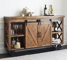 Organize your home bar with bar furniture from Pottery Barn. Find home bar furniture in a wide range of styles and finishes that hold and display entertaining essentials. Cabinet Furniture, Rustic Furniture, Home Furniture, Furniture Ideas, Antique Furniture, Modern Furniture, Furniture Stores, Outdoor Furniture, Furniture Movers