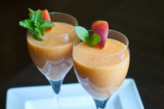 Peach Smoothies that can easily become a delicious, fresh Peach Bellini.