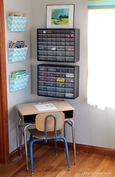 Kid's Creative Center ---putting organizer with drawers on the wall---brilliant!