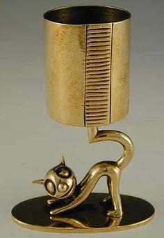"""Hagenauer """"Felix the cat"""" brass matchstick holder & striker - Austria, c.1930"""