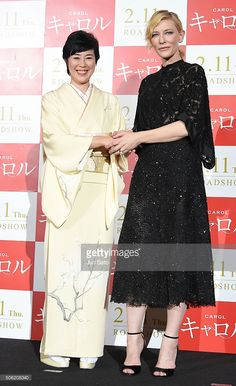 Actresses Cate Blanchett and Shinobu Terashima attend the Stage Greeting for 'Carol' at Roppongi Hills on (January 22, 2016) in Tokyo, Japan.