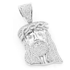 Mini Diamond Jesus Head Pendant in Sterling Silver 1.04ct