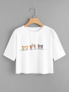 SheIn offers Cat Print Crop Tee & more to fit yo… Shop Cat Print Crop Tee online. SheIn offers Cat Print Crop Tee & more to fit your fashionable needs. Outfits For Teens, Trendy Outfits, Girl Outfits, Fashion Outfits, Fashion Art, Fashion Styles, Womens Fashion, Fashion Online, Mode Kawaii