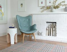 love this chair and more painted white brick