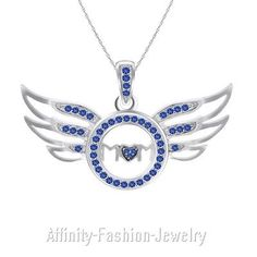 Lab-Created Sapphires 122958: 0.15 Ct Blue Sapphire Pendant Necklace Sterling Silver Angel Wing Mom 18 Chain -> BUY IT NOW ONLY: $266.62 on eBay!