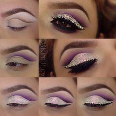 Elegantes Lidschatten-Make-up-Tutorial mit Strasssteinen - Toronto, Calgary, Edmonton, Montr . Eyeshadow Makeup, Makeup Art, Makeup Tips, Beauty Makeup, Eyeshadows, Stunning Makeup, Pretty Makeup, Makeup Looks, Cutcrease Tutorial