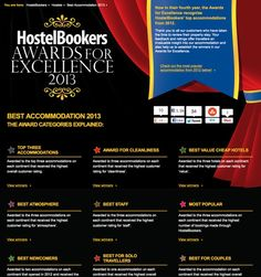 Looking to book a hostel? Be sure you check out HostelBookers Awards for Excellence. They have rounded up the BEST of the BEST so if you're traveling these are definitely some of the places you'll want to check out!