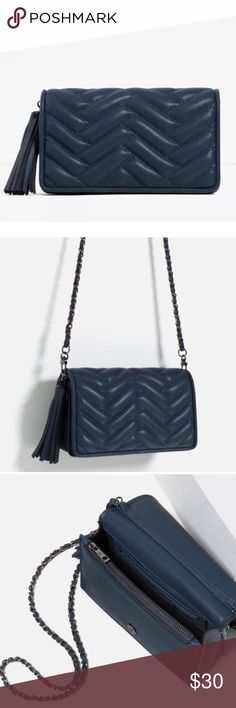 """Zara Quilted Clutch Crossbody Bag EUC. Mini quilted bag. Several compartments inside. Inside pocket zip. Detachable chain. Magnetic closure. Tassel detail. Can be a crossbody or a clutch. Versatile. Approx. 5""""H x 8""""W x 3.5""""D. Color: Navy. With dustbag. Price firm. Zara Bags Crossbody Bags"""