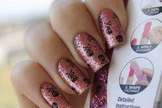 Adesivo p/ unhas - Caveira + Glitter  FRETE GRÁTIS!!!