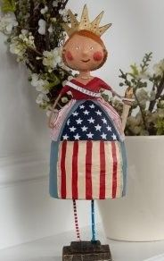 Our Lady Liberty. A Cute whimsical figurine by Lori Mitchell.  4th of July Decorations.