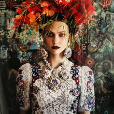 Love the textures in the fabric and the head piece
