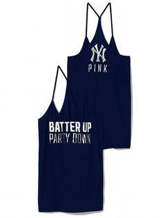 PINKNew York Yankees Skinny Racerback Tank -- Do want.