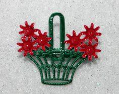 Basket of flowers pin/brooch.  Red enamel flower bouquet in green enamel basket.