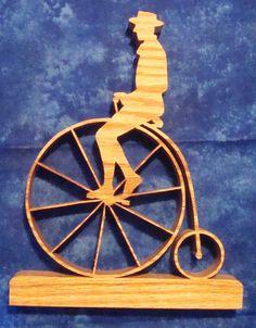 Old Big Wheeled Bike. Hand cut Oak scroll by sugargliderwoodworks, $17.00