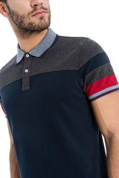 Polo com contraste de cor - Salsa Rugby Shirts, Polo Rugby Shirt, Mens Polo T Shirts, Striped Polo Shirt, Men's Polo, Polo Shirt Style, Polo Shirt Outfits, Polo Shirt Design, Polo Outfit