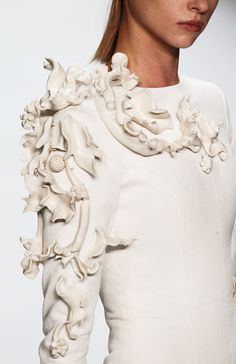 Sculptured surface detail - white on white fashion with 3D textures; organic influences; wearable art // Leandro Cano
