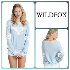 """❣❣✨WildFox """"We The Brave"""" Baggy Beach Jumper✨ ✨Gorgeous Super Soft Wildfox We The Brave Baggy Beach Jumper✨Beautiful """"Kitchen Cool"""" Blue Color✨NWTS✨Size Medium✨ Wildfox Tops Sweatshirts & Hoodies"""