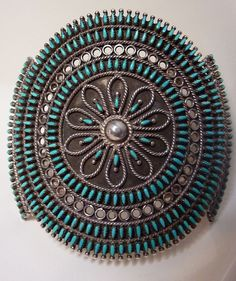 Cuff | Designer ? (Zuni).  'Needle Point Cluster'.  Sterling silver and turquoise.  c. 1940s