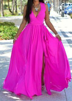 V Neck Slit Design Rose Maxi Dress on sale only US$23.64 now, buy cheap V Neck Slit Design Rose Maxi Dress at modlily.com