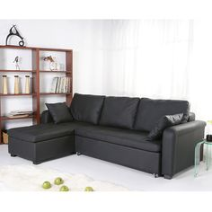This black convertible sectional sofa bed is modern and sophisticated. Modeled after the popular European-style sofa, the faux leather cushions of the couch easily slide out to create a functional guest bed for that surprise overnight guest.