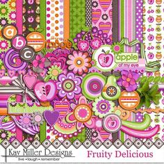 Fruity Delicious Page Kit from Kay Miller Designs Scrapbook Patterns, Scrapbook Embellishments, Mandala, Digital Scrapbook Paper, Illustrations, Printable Paper, Scrapbook Supplies, Paper Background, Card Making