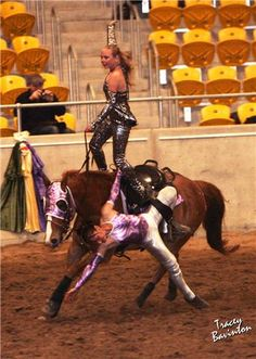 trick riding saddle | Related Pictures trick riding vaulting dressage unbridled displays ... Trick Riding Saddle, Horse Riding, Horse Tricks, Team Roper, Barrel Racing, Cowboy And Cowgirl, Horse Stuff, Vaulting, Cowgirls