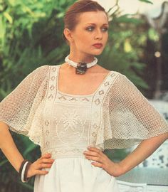 Vintage 1970s Crochet Filet Top with Butterfly Sleeves Pattern PDF 7601