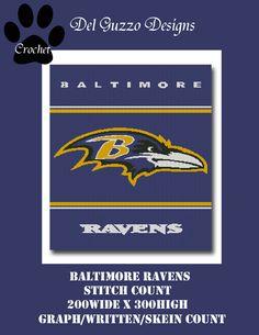 (4) Name: 'Crocheting : Baltimore Ravens Crochet Graph Pattern
