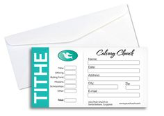 Elegant Tithe Envelope - Download this easy to use Photoshop template and update it with your own church information and logo.