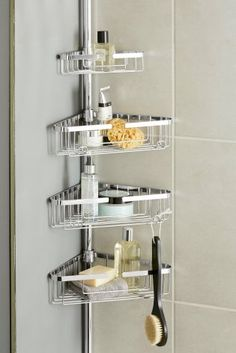 With our contemporary extending bathroom caddy, you'll no longer have to throw your shower goodies on the floor! Bathroom Caddy, Small Bathroom, Bathroom Ideas, Diy Home Crafts, Bathroom Furniture, Online Furniture, Decoration, Decorating Ideas, Decor Ideas