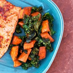 Roasted Sweet Potatoes and Kale by shecookshecleans #Kale #Sweet_Potatoes #shecoookshecleans