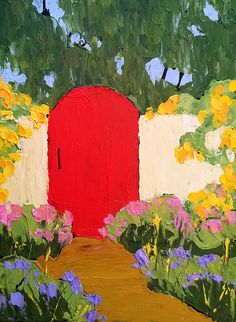 Original Painting Landscape Red GARDEN GATE by lynnefrenchdesigns, $48.00