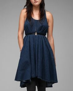 light denim a-line dress